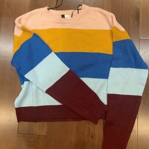 Crew Neck Stripped Color Block sweater